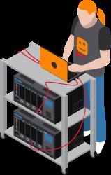 Man destroying data in servers