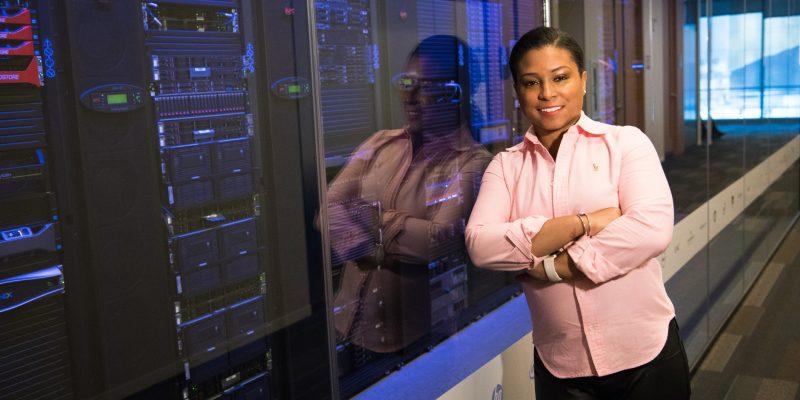 women standing near servers